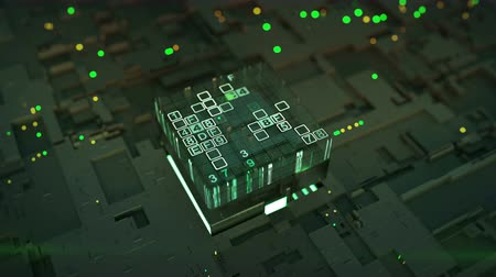 kódolás : Green data encoding process. Fictional circuit board with central processor unit. Seamless loop 3D render animation with DOF Stock mozgókép