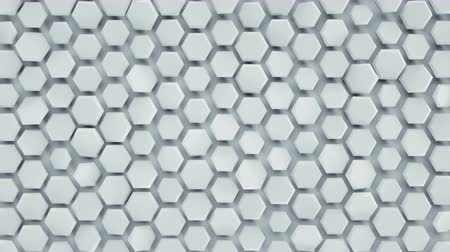 favo de mel : White hexagonal background. Computer generated abstract motion graphics. Seamless loop 3D render animation 4k UHD (3840x2160)