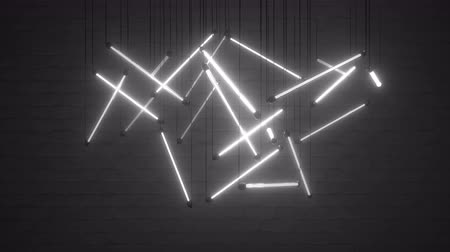 żyrandol : Flickering white neon light bulbs. Seamless loop 3D render animation