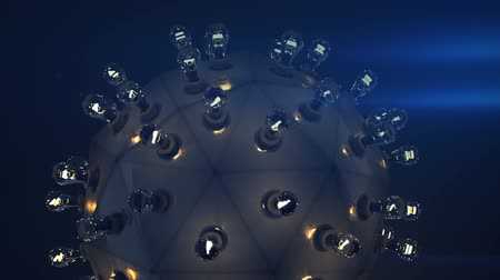 cyberpunk : Round thing with light bulbs. Abstract fiction lighting device. Loopable 3D render animation Stock Footage