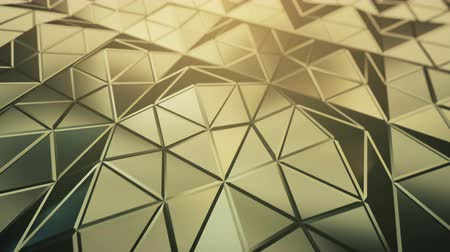 triângulo : Pyramidal yellow surface. Futuristic polygonal shape. Seamless loop 3D render animation 4k UHD 3840x2160