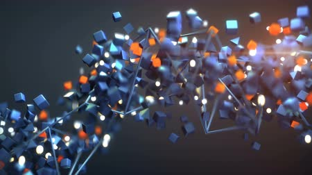 多様な : Chaotic stream of flying geometric objects. Seamless loop 3D render animation with shallow depth of field