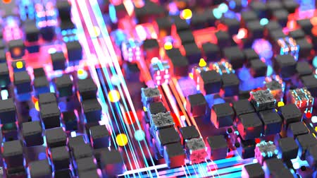 quantum computer : Blue and red light streaks and matrix of cubes. Futuristic information technology or science fiction concept. Seamless loop 3D render animation