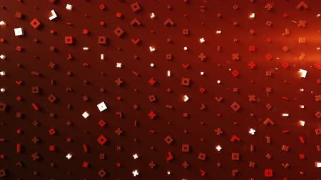 primitív : Wall of glow red abstract symbols. Modern technology or science fiction concept. 3D render seamless loop animation 4k UHD (3840x2160) Stock mozgókép