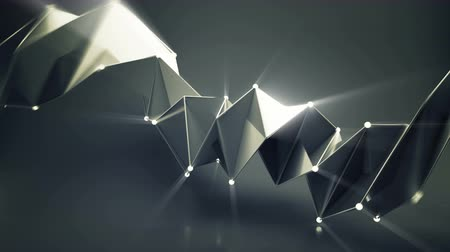 obdélníkový : Abstract futuristic black shape with shiny spheres. Loopable 3D render animation