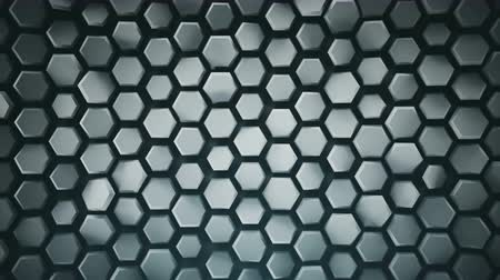 extrude : Abstract geometric grey background with hexagons. Computer generated abstract motion graphics. Seamless loop 3D render animation 4k UHD (3840x2160) Stock Footage