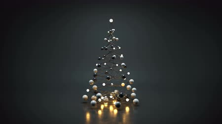 格子 : Futuristic christmas tree. 3D render seamless loop animation