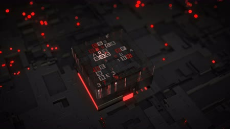 foglalat : Red central processing unit is decoding data. Computer science fiction concept. Seamless loop 3D render animation with DOF