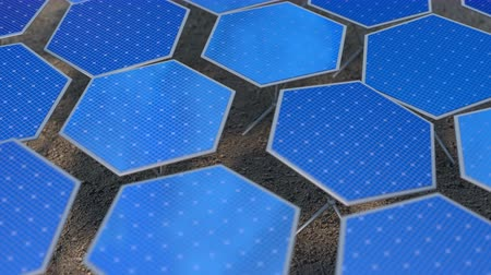 fotovoltaica : Fictional solar panels with automatic positioning system. Seamless loop 3D render animation with DOF