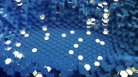 hexagon glow : Blue glossy and glowing hexagon shapes. Futuristic technology honeycomb structure. 3D render seamless loop animation 4k UHD 3840x2160