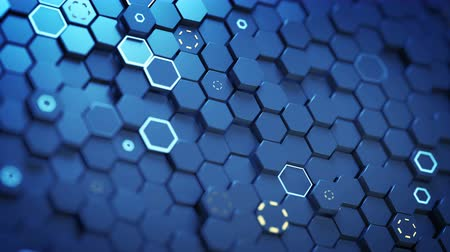 hexagon glow : Glowing blue hexagons pattern. Abstract technical design. Seamless loop 3D render animation with shallow DOF