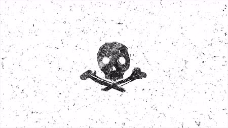 piraterie : Skull shape with noise. Hand-drawn style animation seamless loop Vidéos Libres De Droits