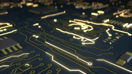integrált : Blue electric circuit. Computer science or electronic concept. Seamless loop 3D render animation with shallow DOF