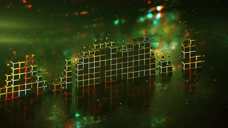 amplificador : Glowing Level meter music equalizer and glitching background. Futuristic technology design. Seamless loop 3D render animation with DOF Vídeos