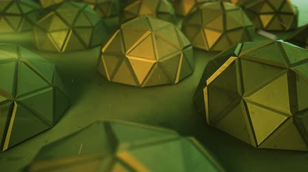 félteke : Array of futuristic green shapes. Abstract modern technology or science fiction concept. 3D render of low poly hemispheres. Seamless loop smooth animation rendered with depth of field 4k UHD (3840x2160) Stock mozgókép