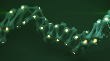 nanotechnologia : Green helix wireframe shape. Abstract 3D render seamless loop animation Wideo