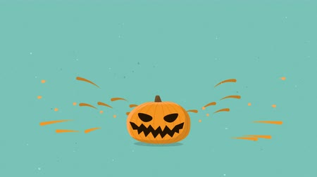 elle çizilmiş : Halloween pumpkin jumping. Alpha chaneel luma matte. Seamless loop hand drawn style animation