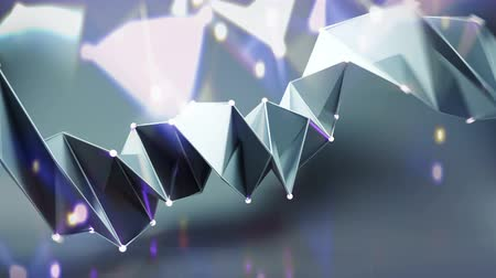 négyszögletes : Polygonal twisted shape with glowing spheres. Abstract geometric form. Seamless loop 3D render animation Stock mozgókép