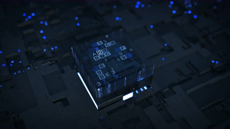 mikroişlemci : Blue digital data processing and analysis. Futuristic PCB with CPU. Seamless loop 3D render animation with DOF