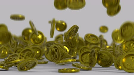 входящий : Gold coins are falling on a surface. 3D render animation with depth of field