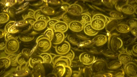 endless gold : Pile of gold coins with light glares. Seamless loop 3D render animation Stock Footage