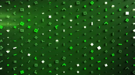 primitív : Wall of abstract glowing green symbols. Modern technology or science fiction concept. 3D render seamless loop animation 4k UHD (3840x2160)