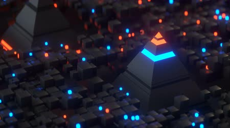procesor : Pyramids and glowing cubes in global matrix. Abstract futuristic technology design. Seamless loop 3D render animation