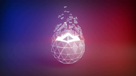 ficção : Icosahedron ball shape and flying polygons. Abstract futuristic technology or science fiction concept. Seamless loop 3D render animation 4k UHD 3840x2160 Vídeos