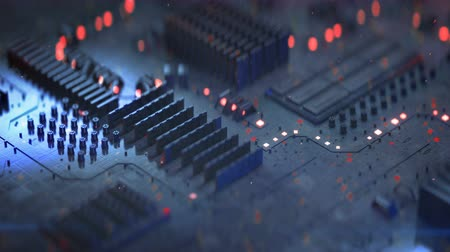 материнская плата : High tech electronic board. Abstract futuristic industry concept. Seamless loop 3D render animation with depth of field