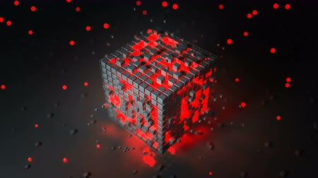 red square : Cubic shape with red illuminating blocks. Futuristic technology design. Seamless loop 3D render animation