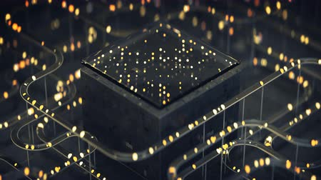 procesor : Cube and tubes with lights. Futuristic technology design. Seamless loop 3D render animation with DOF