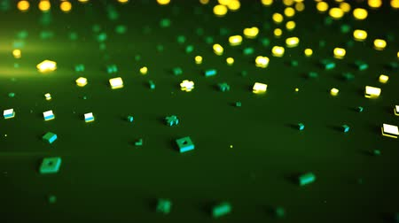 hi fi : Green and yellow geometric shapes. Random glowing symbols. Science fiction concept. Seamless loop dolly shot animation. 3D render with DOF 4k UHD 3840x2160