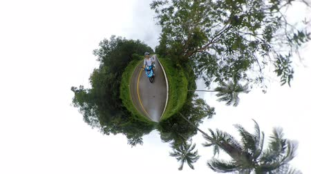 сферический : Riding a scooter on tiny little planet Koh Chang island, Thailand
