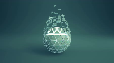 scatters : Teal platonic ball with flying polygons. Abstract futuristic sci-fi concept. Seamless loop 3D render animation 4k UHD 3840x2160