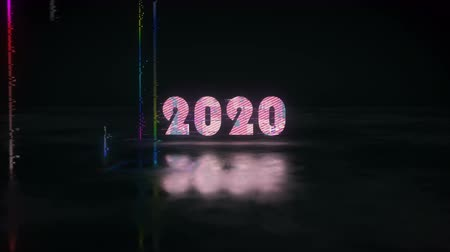 substituição : Glow glitch text 2020 replaces 2019. Christmas or New Year Celebration. 3D render animation