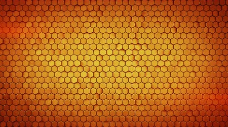 extrude : Wall of small orange hexagons. Computer generated abstract motion background. Seamless loop 3D render animation 4k UHD (3840x2160) Stock Footage