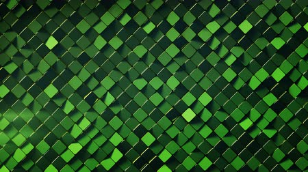 rhombic : Green wall with rhombus shapes. Abstract computer graphics. 3D render seamless loop animation 4k UHD 3840x2160