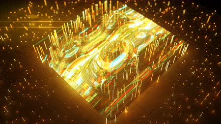artifacts : Yellow digital wave form analysis. Abstract futuristic technology concept. Seamless loop 3D render animation