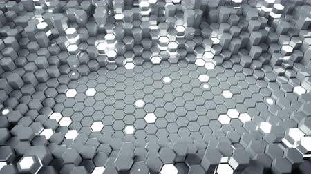 hexagon glow : White abstract background with glowing hexagons. Futuristic technology honeycomb structure. 3D render seamless loop animation 4k UHD 3840x2160 Stock Footage