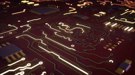 integrált : High tech electronic red circuit board. Futuristic technology concept. Seamless loop 3D render animation with depth of field Stock mozgókép