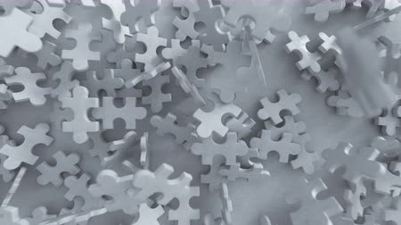 metáfora : Pieces of puzzle are falling. 3D render animation Vídeos