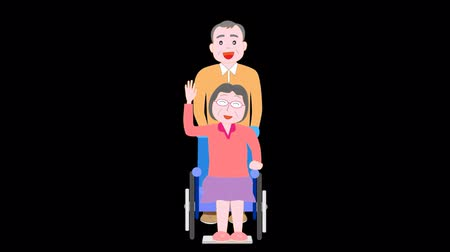 uzun ömürlü : Husband to care for the elderly woman in a wheelchair when walking and Stok Video