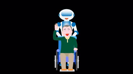 uzun ömürlü : Robot care for elderly wheelchair users have to walk Stok Video