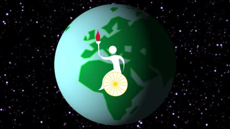 continent : International sports torch relaying to the countries around the world. Stock Footage