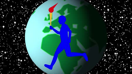 all european flags : Torch runners are running all over the world to hold international sports competitions.