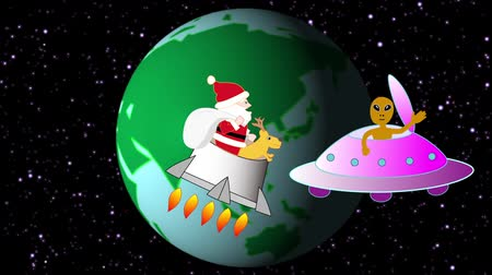 Christmas in the future when Santa Claus flies into space Videos