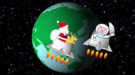 Christmas in the future when Santa Claus flies into space Wideo