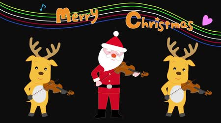 Christmas concert of Santa Claus and reindeer. Wideo