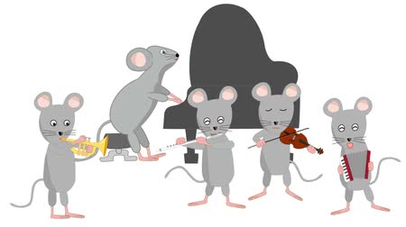 New Years card stock footage for 2020. Rats are holding a concert to celebrate the New Year.