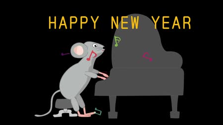 trąbka : New Years card stock footage for 2020. Rats are holding a concert to celebrate the New Year.
